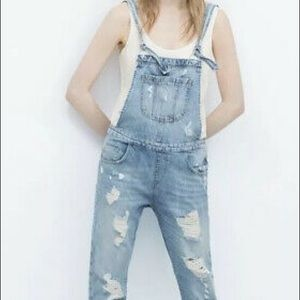 Zara denim distressed overalls